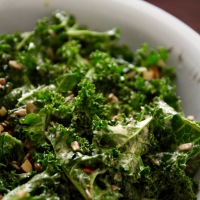 Crunchy Kale Salad with Lemon Tahini Dressing