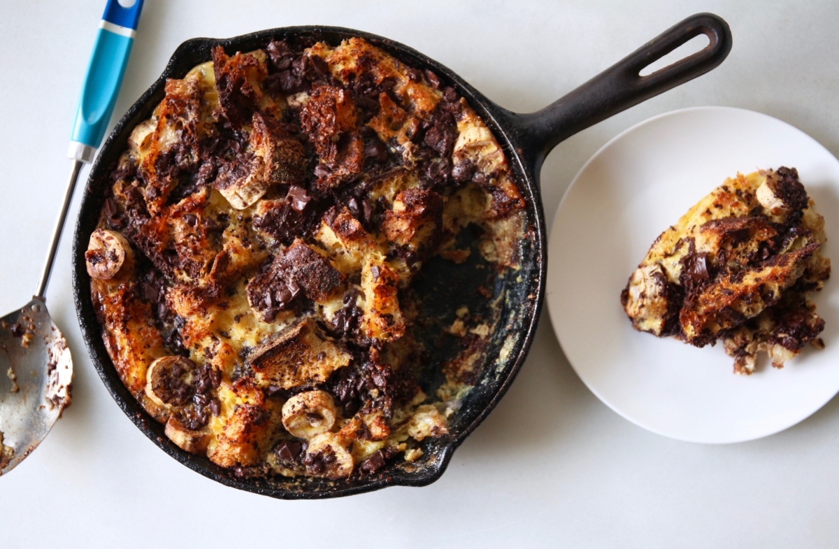 Banana & Chocolate Chunk Bread Pudding