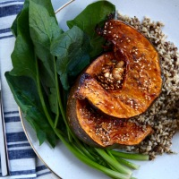 Pumpkin Salad with Farro and Spinach